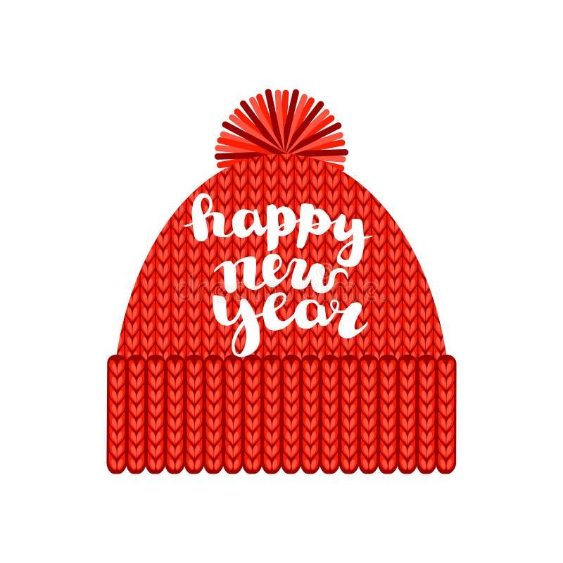 Trykotowa czerwona nakrętka z pomponem z wpisowym «Szczęśliwym nowym rokiem « pojedynczy bia?e t?o Jesień sezonowy a lub zima royalty ilustracja