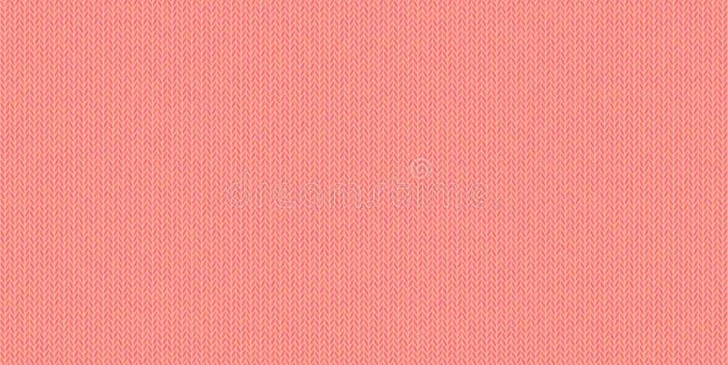 Trykotowa tekstura, wełny melange przędza, bladzi czerwień cienie w wektorowym bezszwowym tle, nowożytny, modny kolor utrzymanie, ilustracja wektor