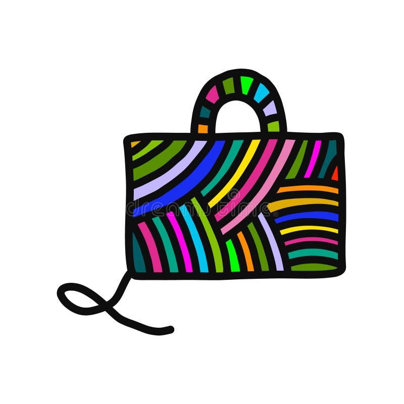 Trykotowa torba z dokument przędzy wełny ręka rysującą ilustracją dla druków plakatów t koszula tła dziewiarskich kursów i ilustracji