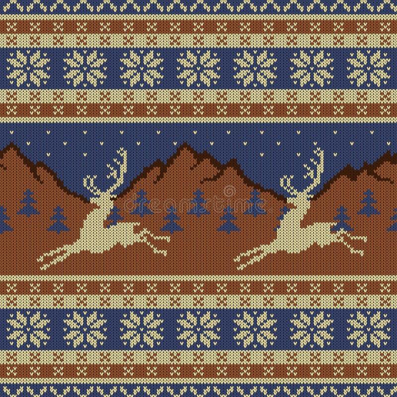 Trykotowa wełny makata z deers na tle góry, gwiaździsty niebo i świerczyna las, ilustracja wektor
