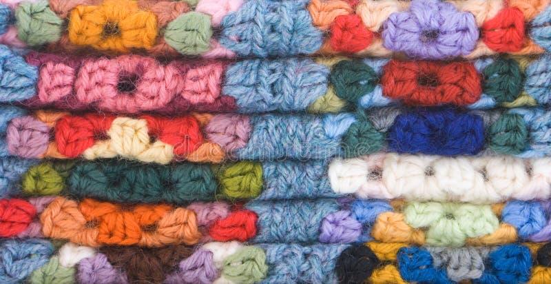 trykotowi crochet kwadraty fotografia royalty free
