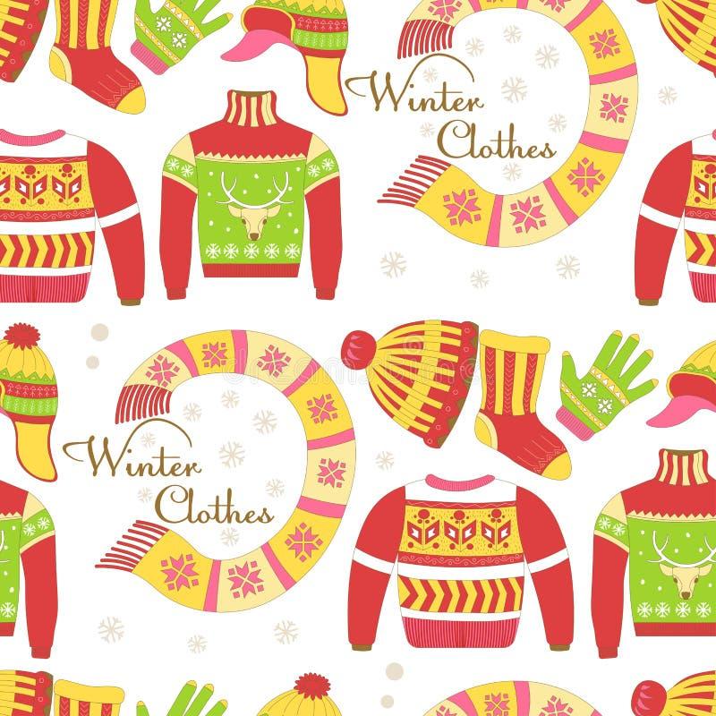 Trykotowi pulowery i ciepłej zimy kapeluszowy bezszwowy wzór odizolowywający royalty ilustracja