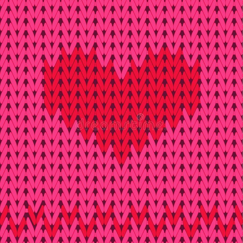 Trykotowy bezszwowy wzór, czerwony serce na różowym tle ilustracji