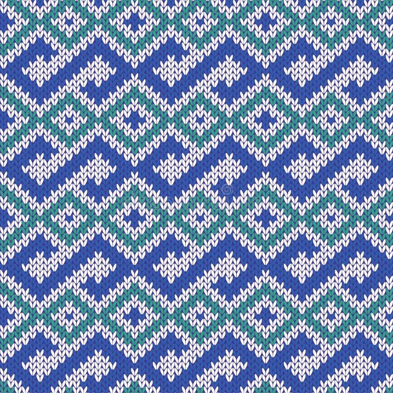 Trykotowy Bezszwowy wzór w błękicie, zieleni i szarość, ilustracja wektor
