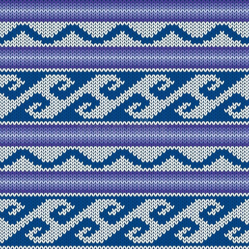 Trykotowy Bezszwowy wzór w Błękitnym, fiołku i szarość, ilustracja wektor
