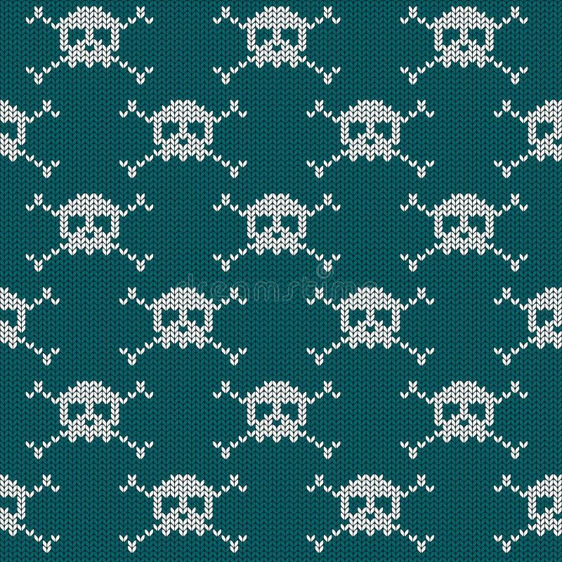 Trykotowy bezszwowy wzór z czaszkami ilustracja wektor