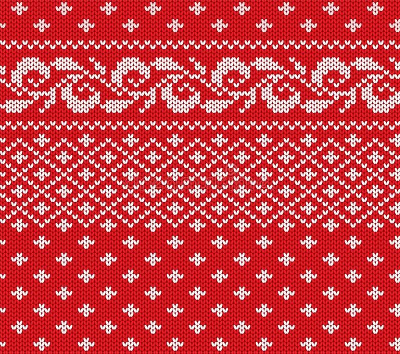 Trykotowy bożych narodzeń czerwień i biały kwiecisty bezszwowy ornament Xmas dzianiny zimy puloweru tekstury projekt royalty ilustracja