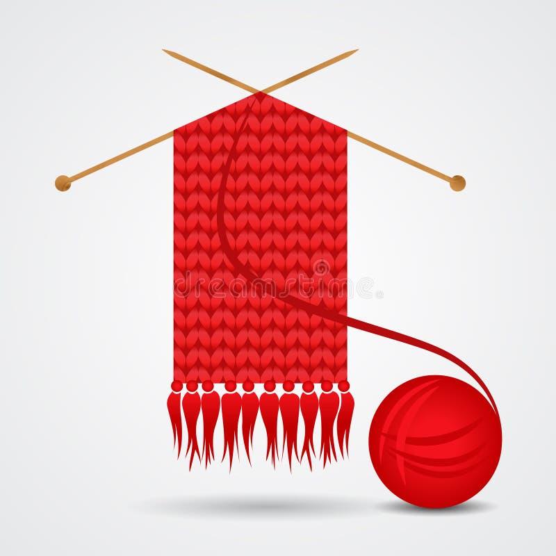 Trykotowy czerwony szalik z przędzy piłką ilustracja wektor