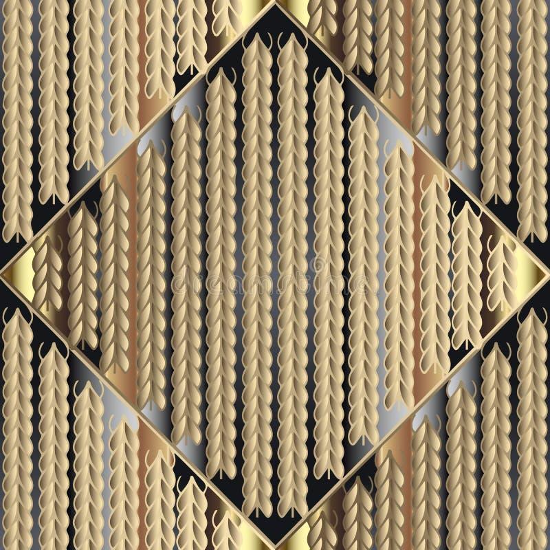 Trykotowy 3d złocisty bezszwowy wzór Ornamentacyjny dzianie textured b royalty ilustracja