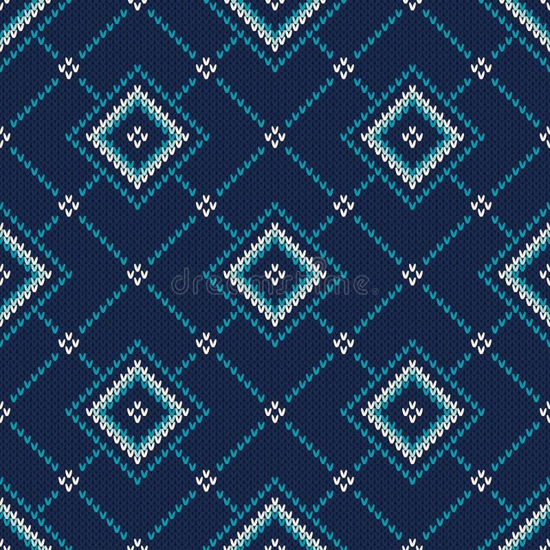 trykotowy deseniowy bezszwowy Uczciwego wyspa stylu Dziewiarski pulower Desig ilustracja wektor