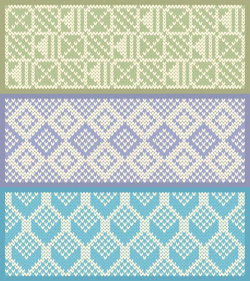 Trykotowy deseniowy tło wektoru set ilustracji