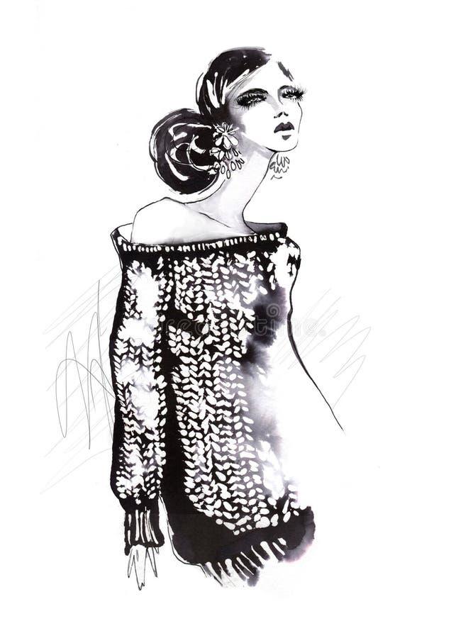trykotowy dziewczyna pulower royalty ilustracja