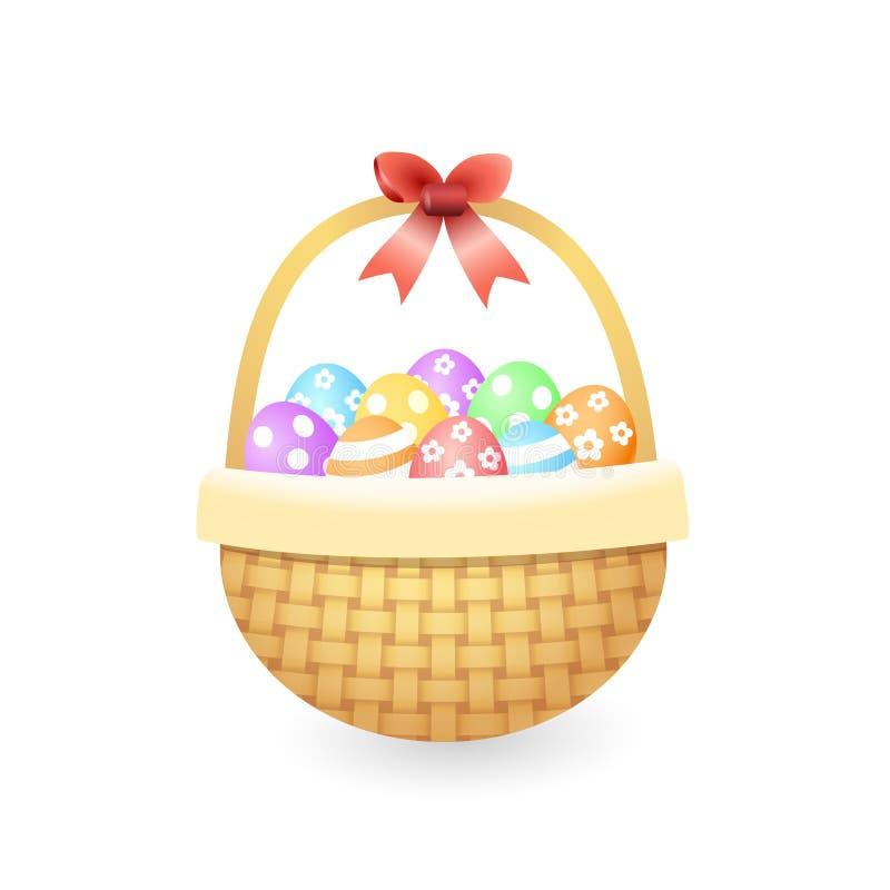 Trykotowy kosz z kolorowymi Easter jajkami - odizolowywającymi na białej wektorowej ilustracji ilustracji