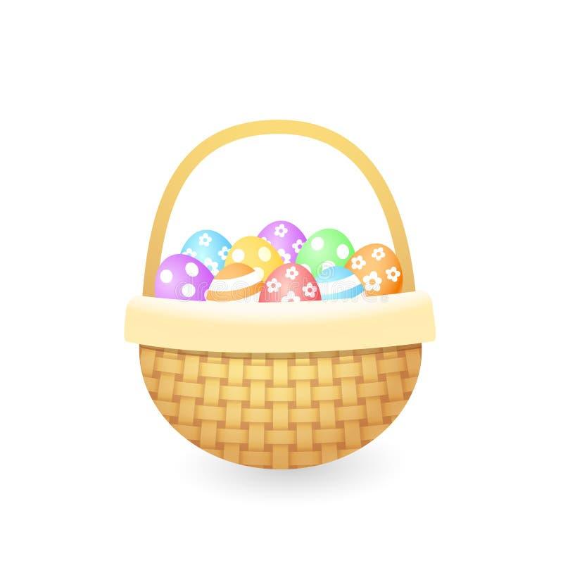 Trykotowy kosz z kolorowymi malującymi Easter jajkami ilustracji