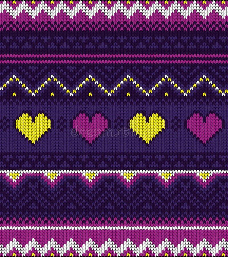 Trykotowy pulower purpur wzór z sercami fotografia royalty free
