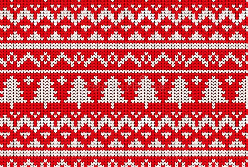 Trykotowy pulower zimy wzór w czerwieni i drzewie royalty ilustracja