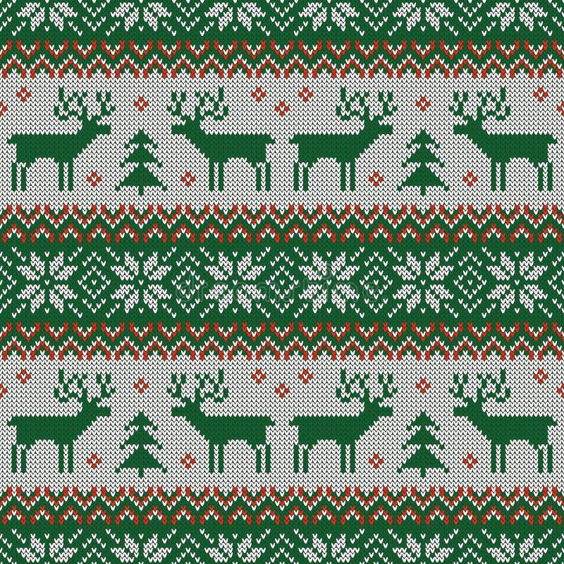 Trykotowy scandinavian wzór z deers wektor ilustracji