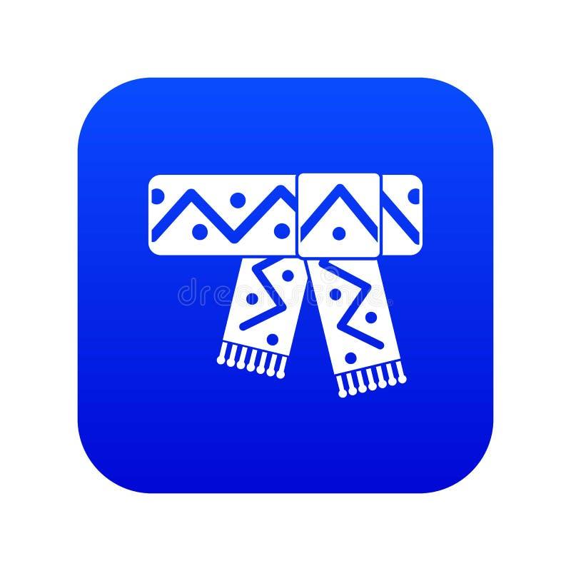 Trykotowy szalik z deseniowej ikony cyfrowym błękitem royalty ilustracja
