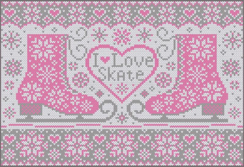 Trykotowy tło z różowymi łyżwami ilustracja wektor