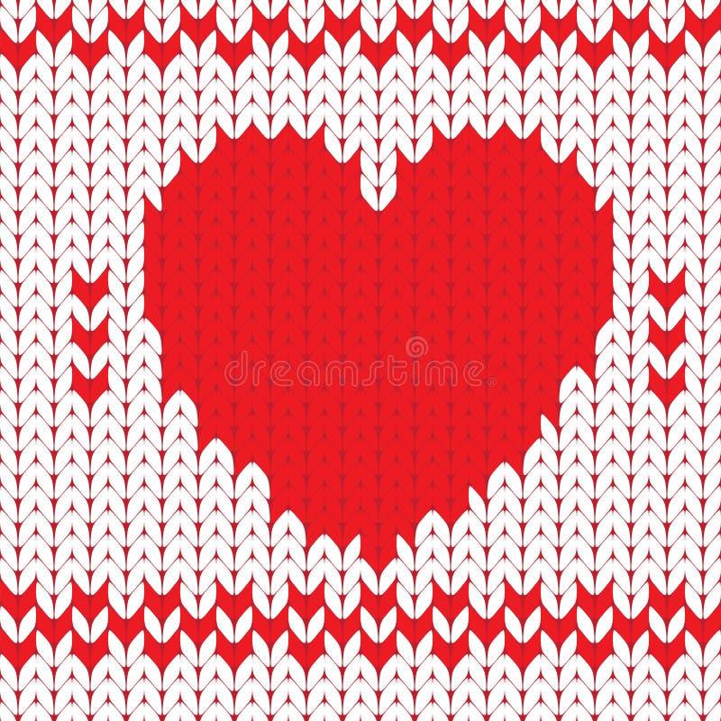 Trykotowy tekstylny dekoracyjny valentine serce ilustracji