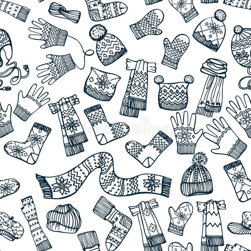 Trykotowy ubraniowych akcesoriów bezszwowy wzór ilustracji