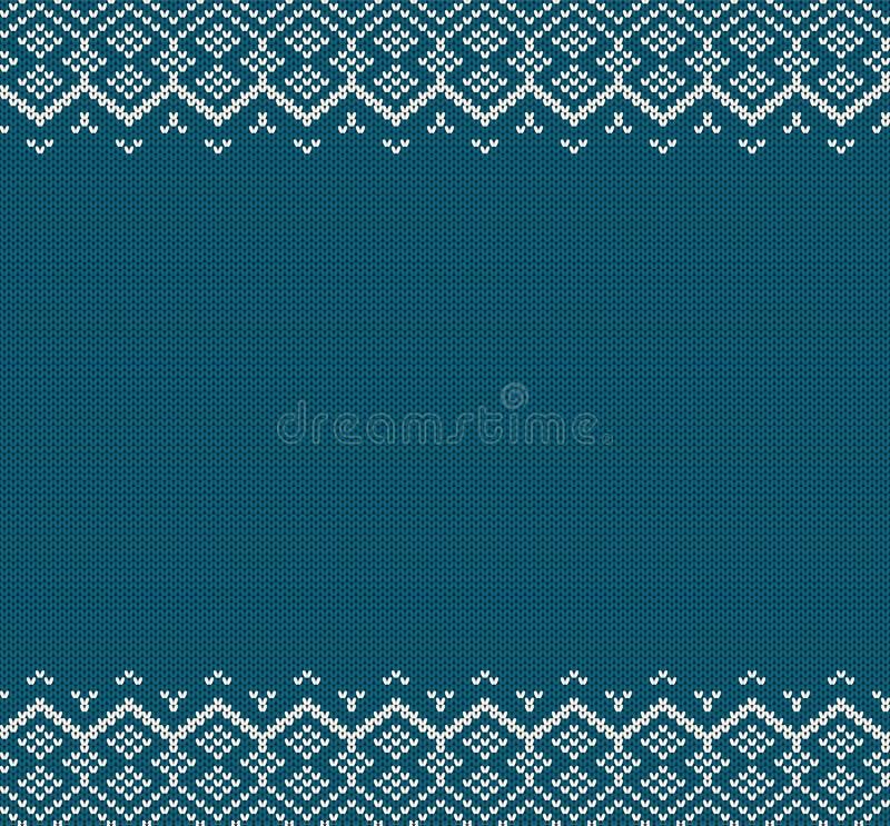 Trykotowy wakacyjny geometryczny ornament z pustą przestrzenią dla teksta Dzianina koloru puloweru błękitna tekstura royalty ilustracja