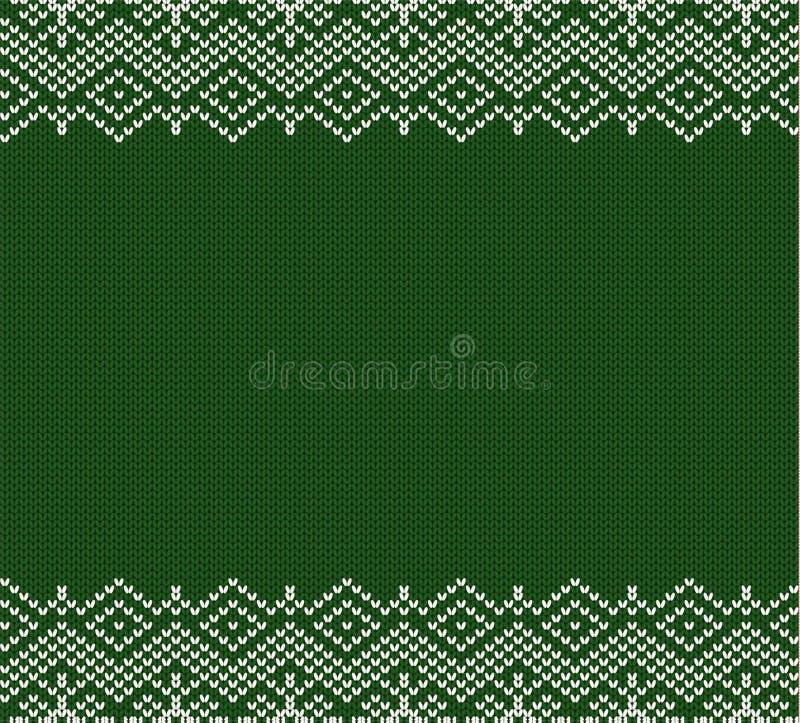 Trykotowy wakacyjny geometryczny zielony ornamentu projekt z pustą przestrzenią dla teksta boże narodzenia deseniują bezszwowego ilustracja wektor