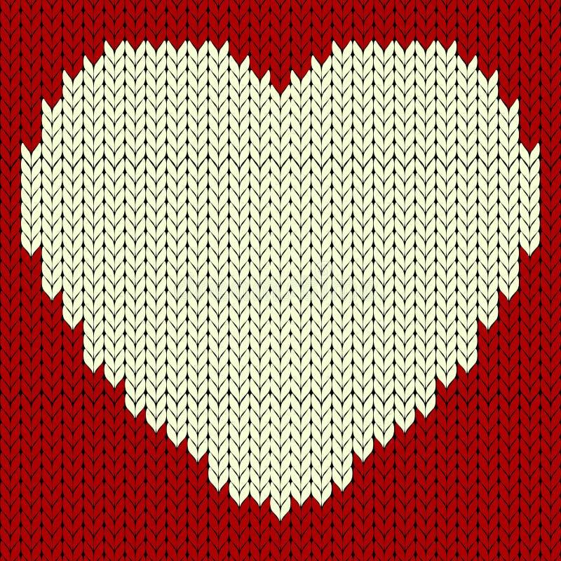 Trykotowy wektoru wzór z czerwonym sercem ilustracji