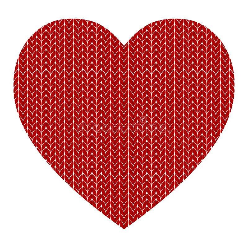 Trykotowy wektoru wzór z czerwonym sercem royalty ilustracja