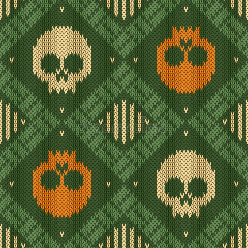 Trykotowy woolen bezszwowy wzór z czaszkami w zielonych cieniach royalty ilustracja