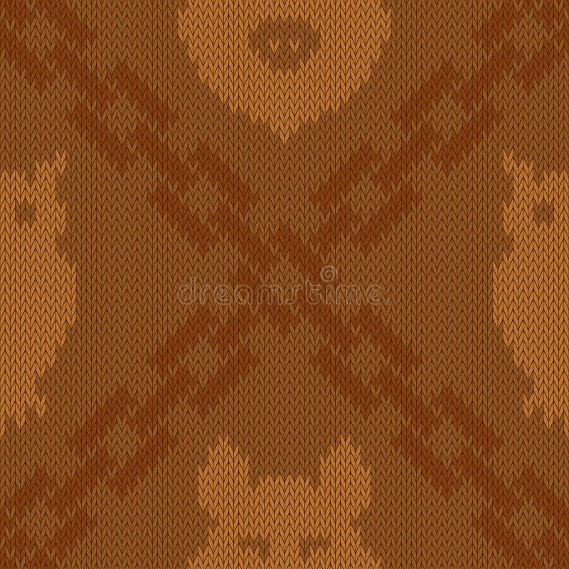 Trykotowy woolen wzór z skrzyżowaniem łańcuchy, sowa i dziki knur w cieniach brąz, ilustracji