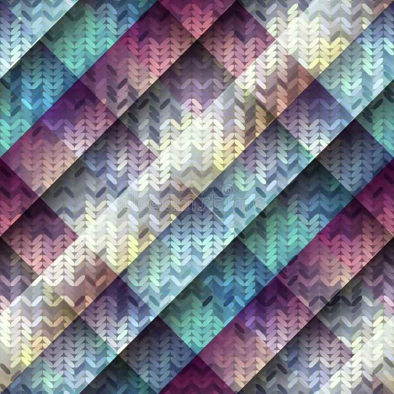 Trykotowy wzór na diagonalnym geometrycznym tle ilustracji