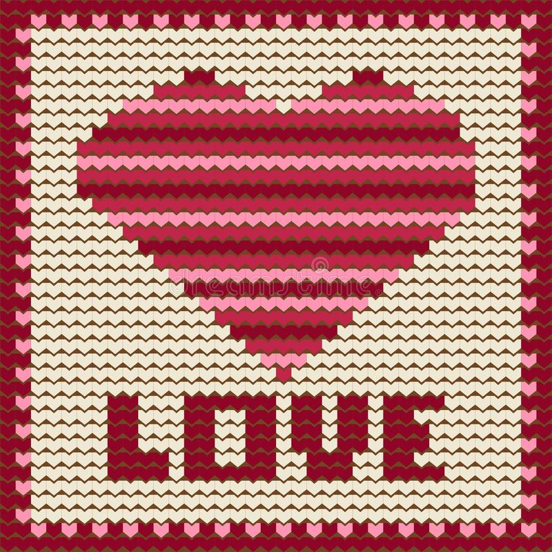 Trykotowy wzór z czerwonym sercem. ilustracji