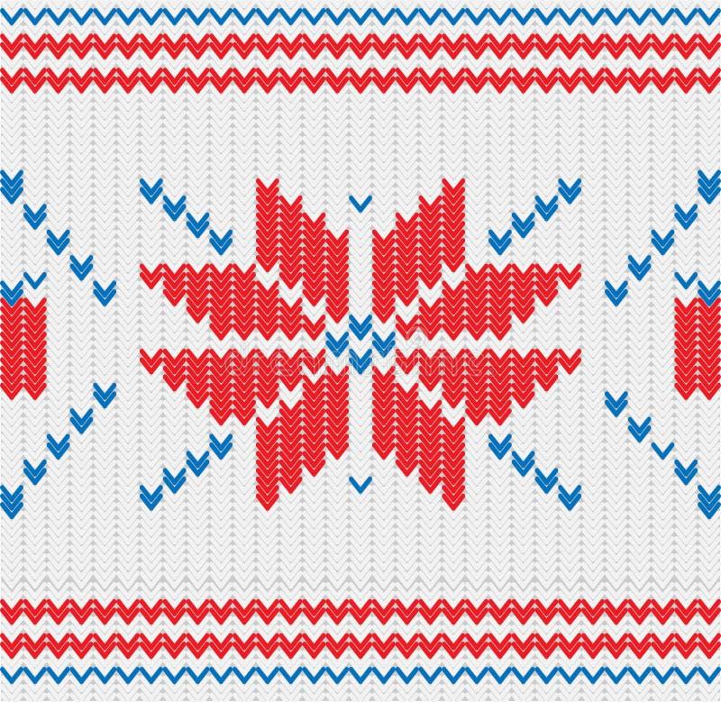 Trykotowy wzór z płatki śniegu ilustracja wektor