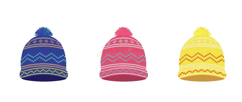 Trykotowy zima kapeluszu set royalty ilustracja