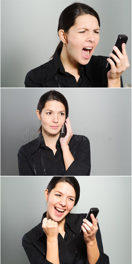 Tryptich των αντιδράσεων μιας γυναίκας σε ένα τηλεφώνημα στοκ φωτογραφία με δικαίωμα ελεύθερης χρήσης