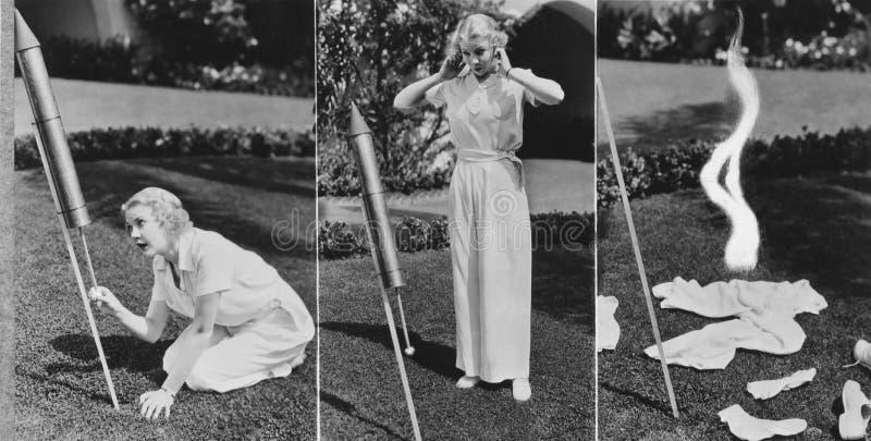 Tryptyk kobiety oświetlenia rakieta i wybuchać (Wszystkie persons przedstawiający no są długiego utrzymania i żadny nieruchomość  obrazy royalty free