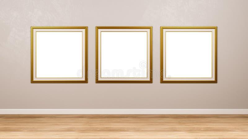 Tryptyk Złotego kwadrata obrazka Pusta rama przy ścianą royalty ilustracja