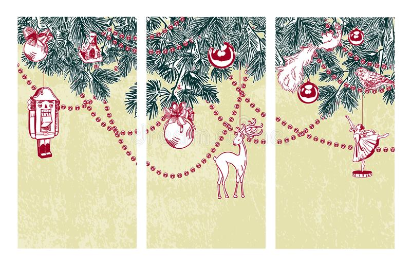 Tryptyka wektoru karty ustaleni boże narodzenia kreślą dziadek do orzechów baleriny obrazy stock