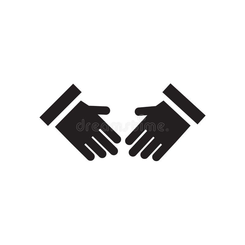 Trząść ręki ikony wektoru znaka i symbol odizolowywający na białym tle, Trząść ręka logo pojęcie ilustracja wektor