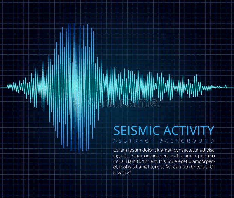 Trzęsienie ziemi częstotliwości fala wykres, aktywność sejsmiczna Wektorowy abstrakcjonistyczny naukowy tło royalty ilustracja