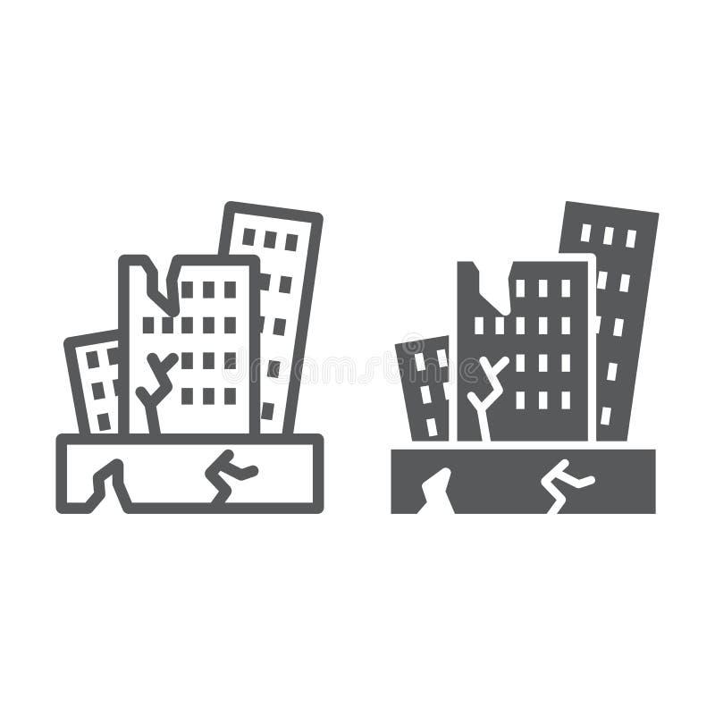 Trzęsienie ziemi linia, glif ikona, katastrofa i szkoda, domowy trzaska znak, wektorowe grafika, liniowy wzór na bielu royalty ilustracja