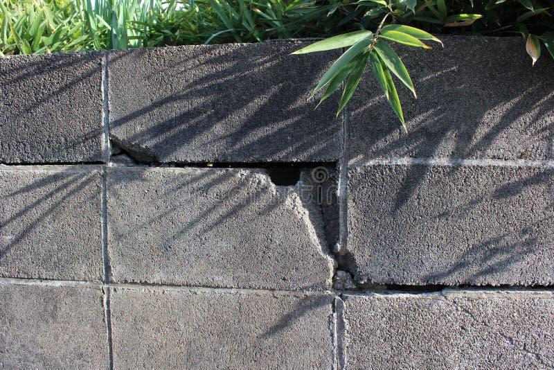 Trzęsienie ziemi uszkadzająca blok ściana fotografia royalty free