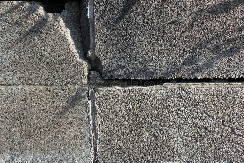 Trzęsienie ziemi uszkadzająca blok ściana obrazy stock