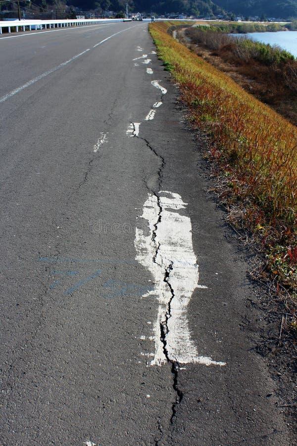 Trzęsienie ziemi uszkadzająca droga obraz royalty free