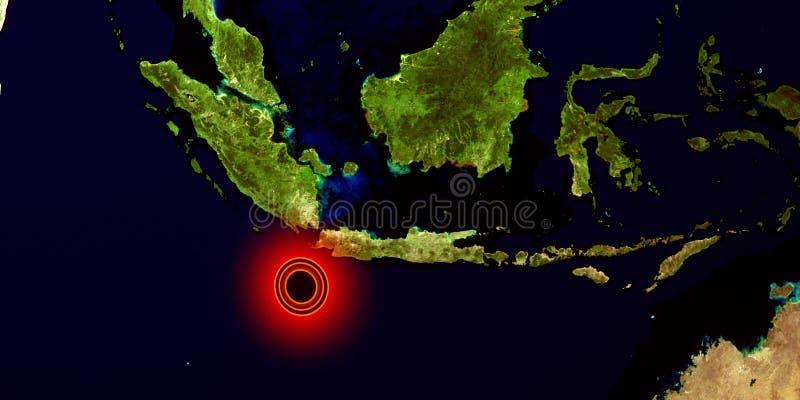 Trzęsienie ziemi w Indonezja Strza? od przestrzeni Niezwykle szczegółowa 3D ilustracja Elementy ten wizerunek mebluj? NASA fotografia royalty free