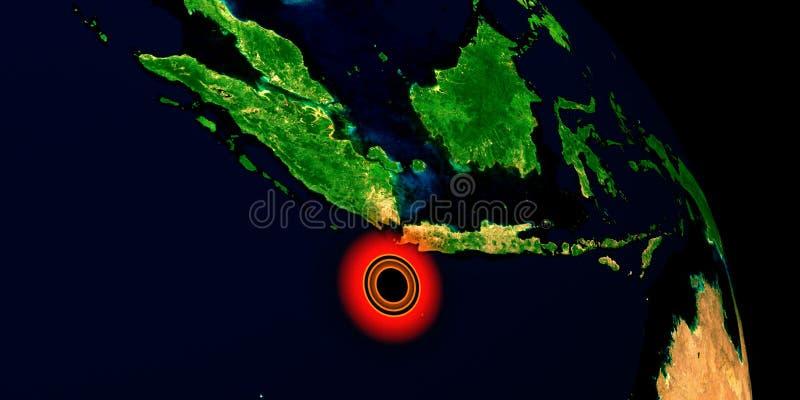 Trzęsienie ziemi w Indonezja Strza? od przestrzeni Niezwykle szczegółowa 3D ilustracja Elementy ten wizerunek mebluj? NASA obraz stock