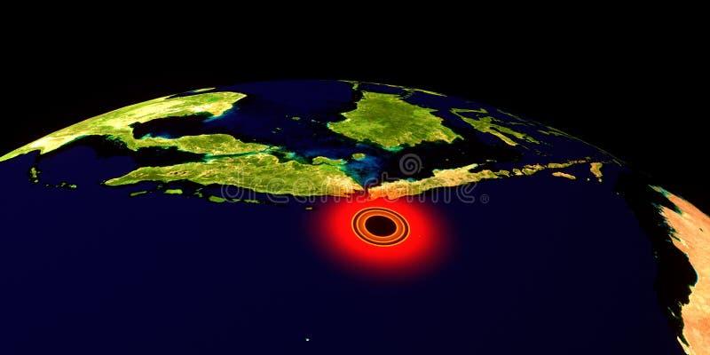 Trzęsienie ziemi w Indonezja Strza? od przestrzeni Niezwykle szczegółowa 3D ilustracja Elementy ten wizerunek mebluj? NASA zdjęcie stock