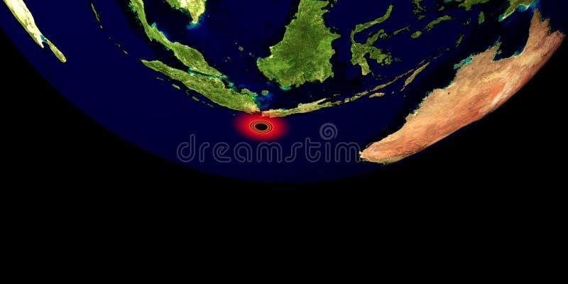 Trzęsienie ziemi w Indonezja Strza? od przestrzeni Niezwykle szczegółowa 3D ilustracja Elementy ten wizerunek mebluj? NASA zdjęcia stock