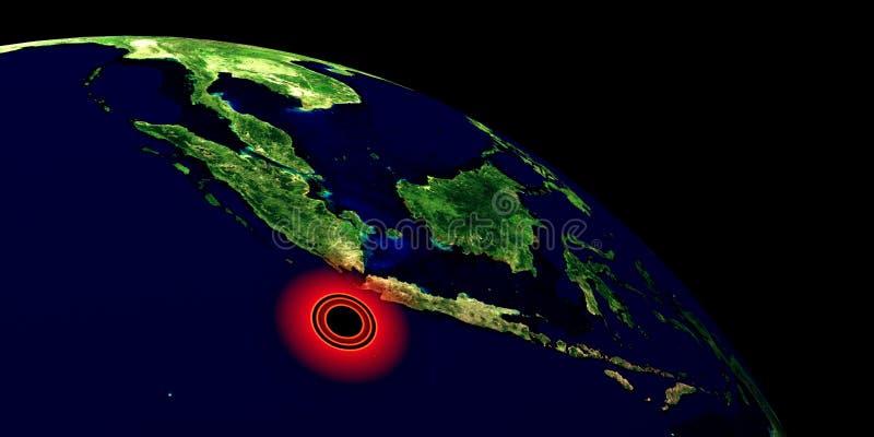 Trzęsienie ziemi w Indonezja Strza? od przestrzeni Niezwykle szczegółowa 3D ilustracja Elementy ten wizerunek mebluj? NASA zdjęcie royalty free
